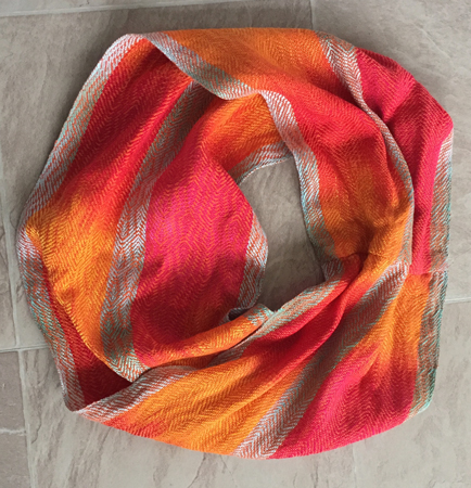 hand painted cowl-orange feathers
