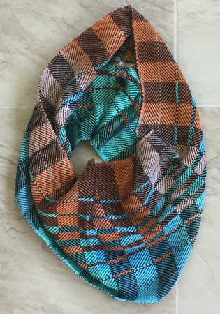 terra cotta & blue cowl