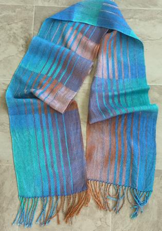 terra cotta & blue scarf