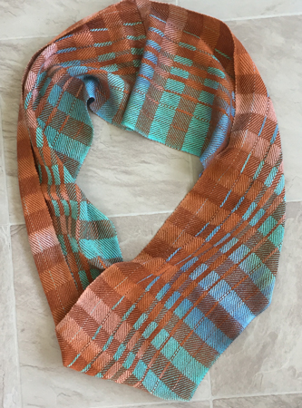 terra cotta & blue long cowl
