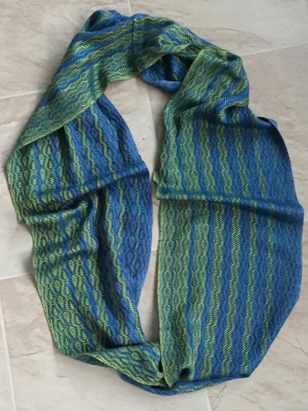 blue &  green silk feathers cowl