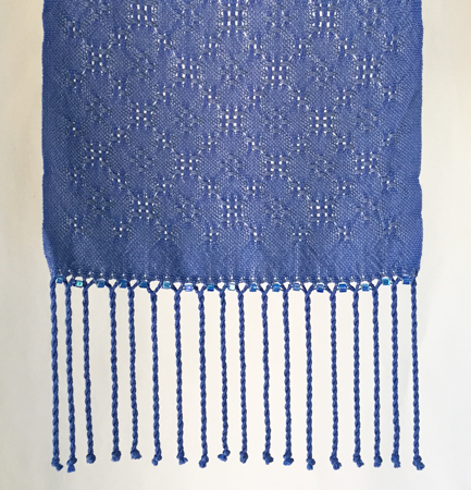 2 blues silk lace, beaded end