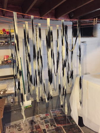 black & white tencel hanging to dry