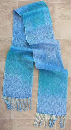 handpainted tencel scarf, blue diamonds