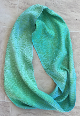 handpainted tencel cowl, green zigs
