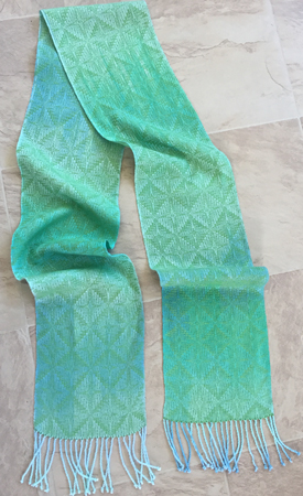 handpainted tencel scarf with green weft
