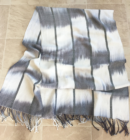 hand painted black and white shawl