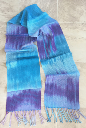hand painted azure and red-violent scarf