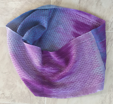 hand painted red-violet and teal cowl