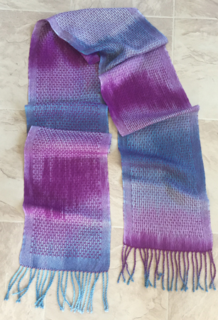 hand painted red-violet and teal scarf