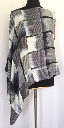 hand painted black & white tencel shawl