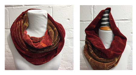 rayon chenille cowl, down and up