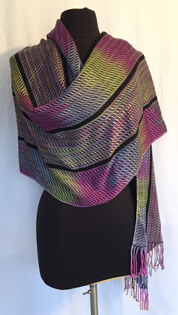handpainted and woven shawl, B-I-C