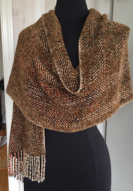 mixed warp, forest shawl