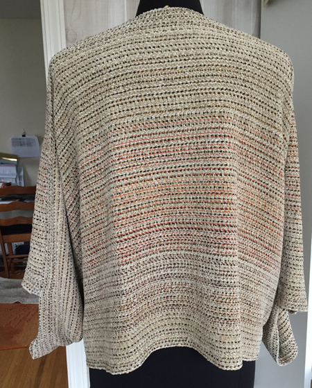 mixed warp, oatmeal jacket back