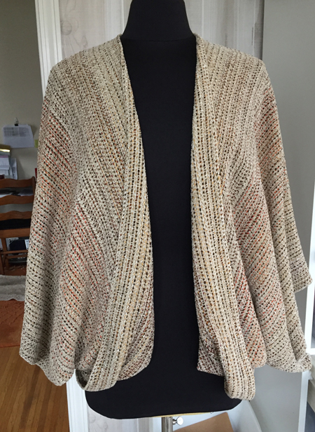 mixed warp, oatmeal jacket front