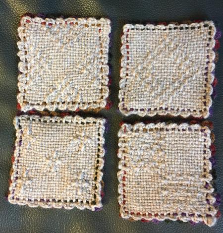 earthtone weavie coasters, top