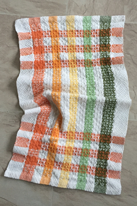 striped weft towel, all over huck