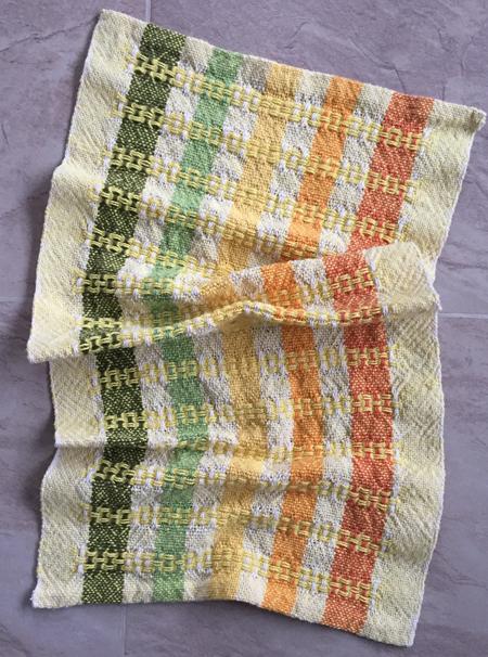 yellow weft towel, alternate huck, alternate tie up