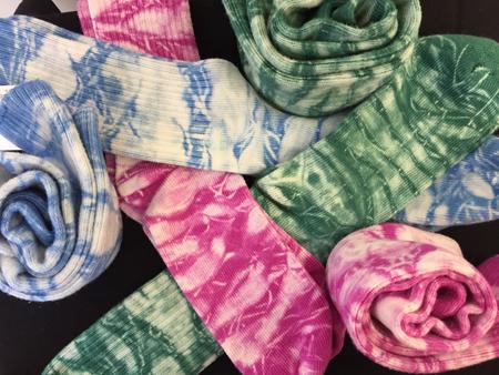 shibori-dyed socks