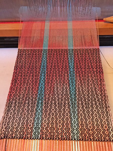 weaving coral & turquoise scarf