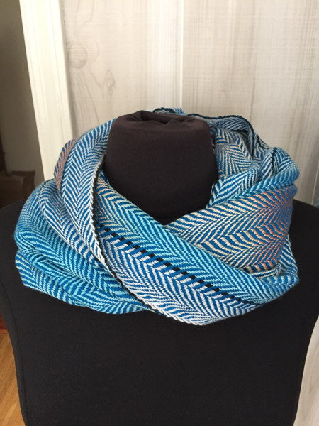 handwoven coral & turquoise cowl