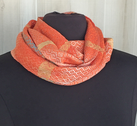 handwoven coral & turquoise cowl, orange weft, doubled