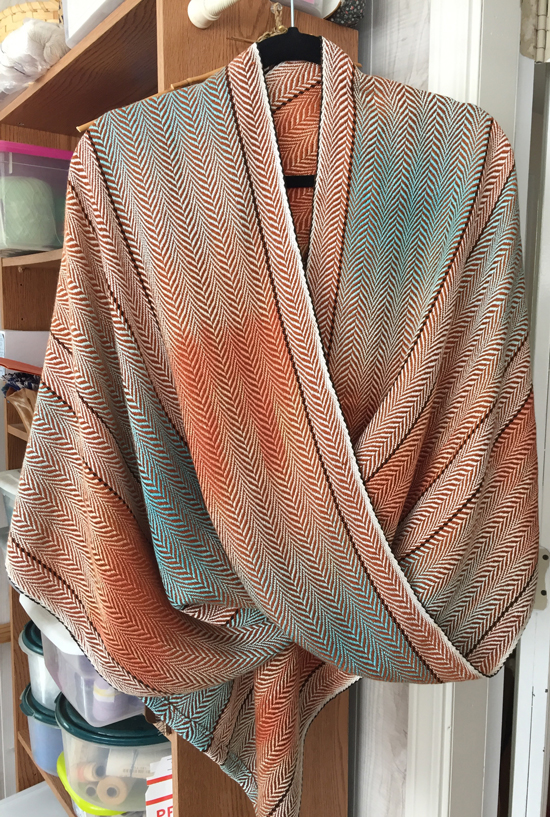handwoven coral & turquoise mobius