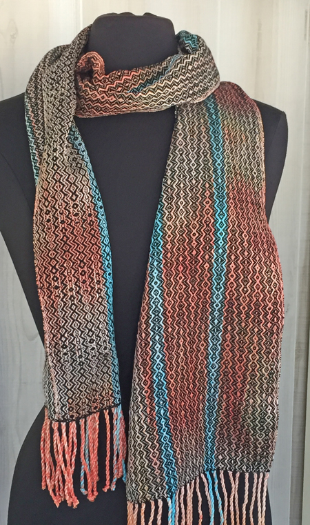 handwoven coral & turquoise scarf with black