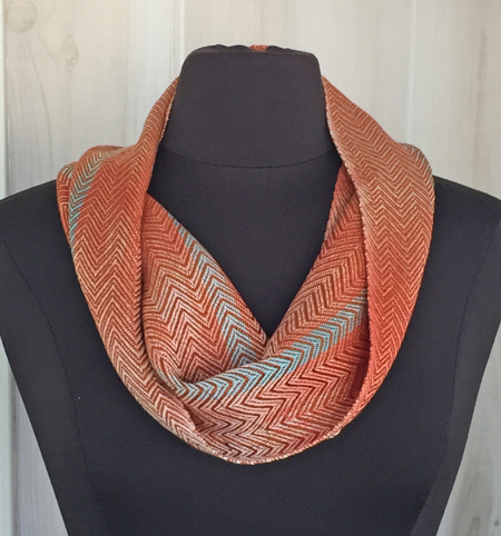 handwoven coral & turquoise cowl, sienna weft