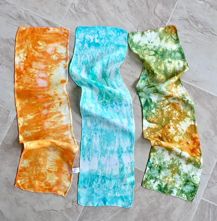koolaid ice-dyed silk scarves