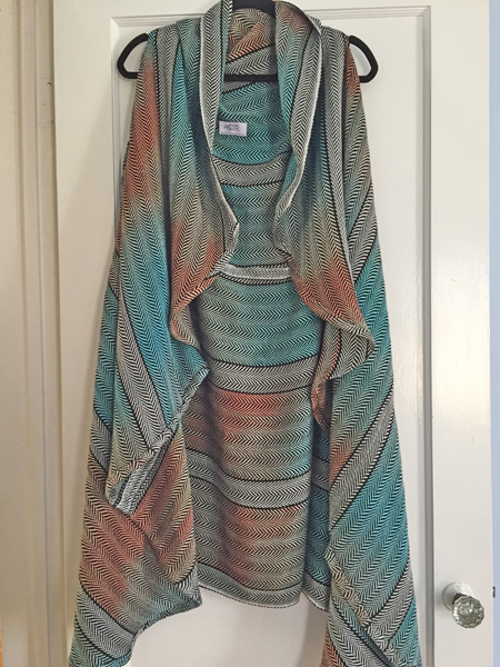 handwoven coral & turquoise open front cardigan