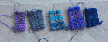 5 knit swatches