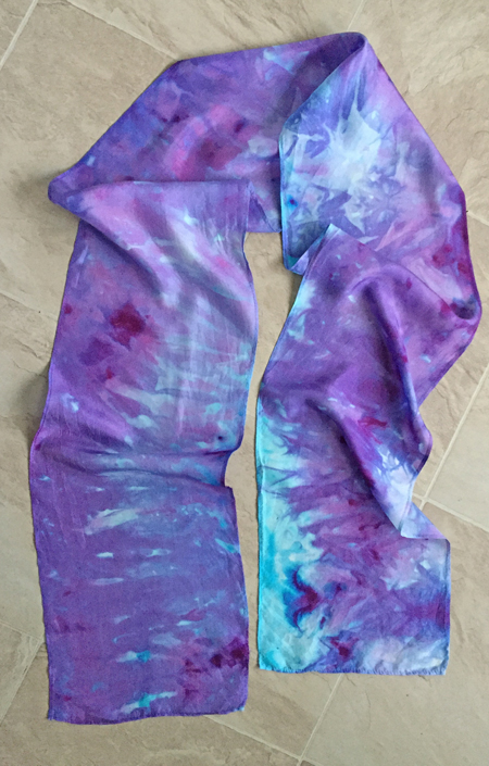 dyed blue & purple silk scarf