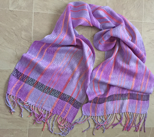 hand dyed and woven scarf, grape and red