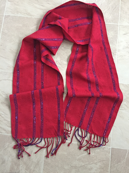 handwoven scarf with sparkles