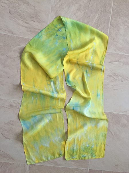 yellow & green silk scarf