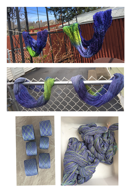 blue & green dyed skeins progression