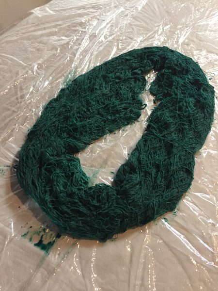 dyed green silk for weft