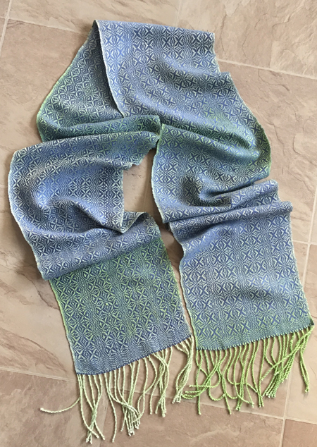 hand painted silk scarf with blue weft
