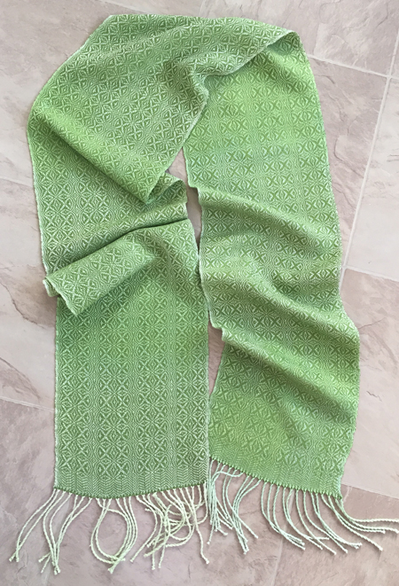 hand painted silk scarf with green