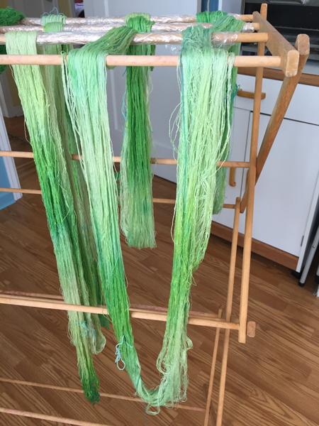 hand painted green silk warp