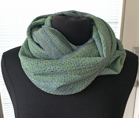 handwoven silk cowl, wrapped twice