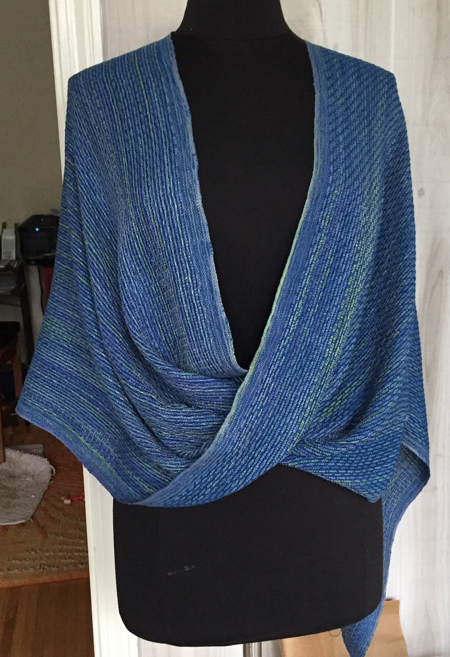 handwoven blue silk mobius