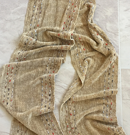handwoven rayon chenille scarf, camel