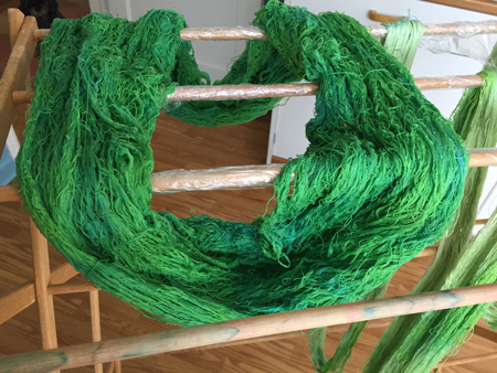 dyed green silk weft
