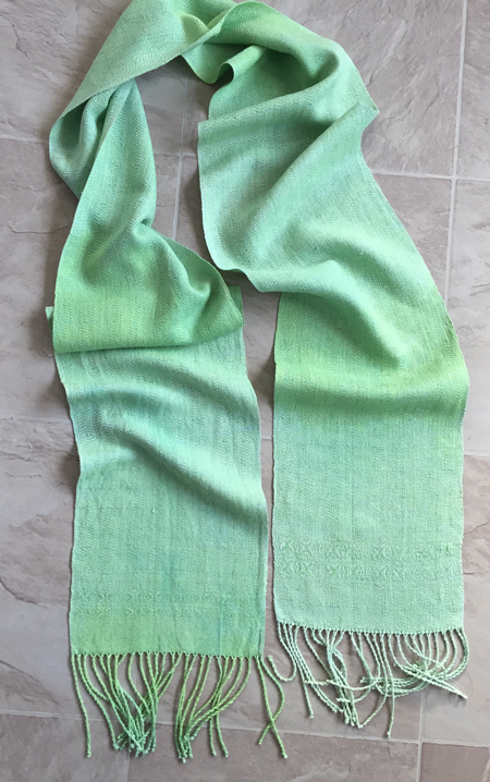 pale spring green hand dyed silk scarf