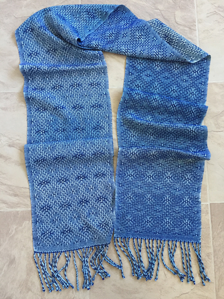 handwoven silk lace scarf - stonewashed jeans