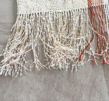 glitter scarf fringe, closeup