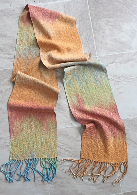 hand painted silk scarf, gold weft
